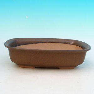 Ceramic bonsai bowl H 02 - 19 x 13,5 x 5 cm, brown - 19 x 13.5 x 5 cm