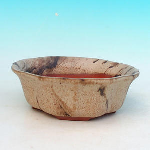 Ceramic bonsai bowl H 06 - 14,5 x 14,5 x 4,5 cm, beige - 14.5 x 14.5 x 4.5 cm