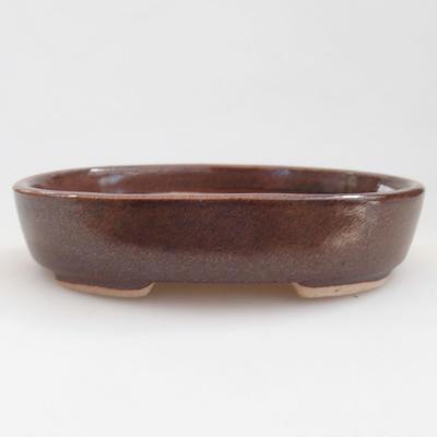 Ceramic bonsai bowl 11 x 9 x 2.5 cm, brown color - 1