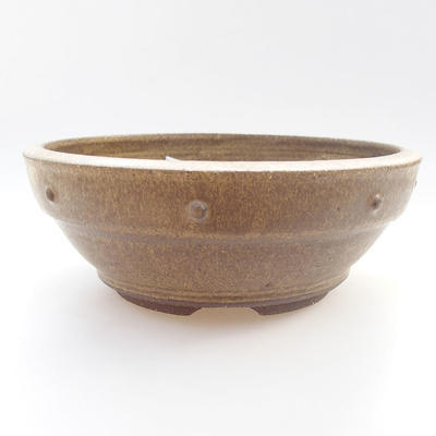Ceramic bonsai bowl - 20,5 x 20,5 x 6 cm, yellow color - 1