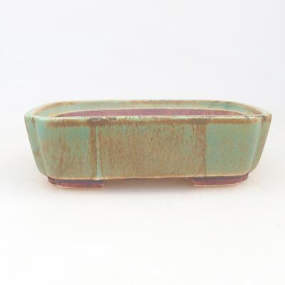 Ceramic bonsai bowl 17.5 x 14.5 x 5 cm, color green - 1