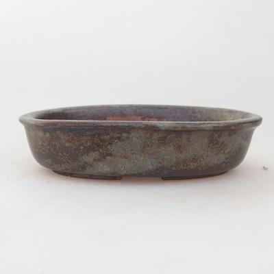 Ceramic bonsai bowl 12 x 8 x 3 cm, brown-blue color - 1