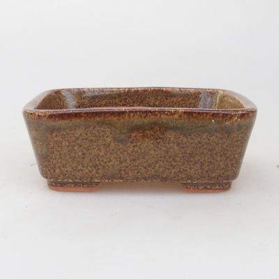 Ceramic bonsai bowl 9.5 x 8 x 3.5 cm, brown-green color - 1