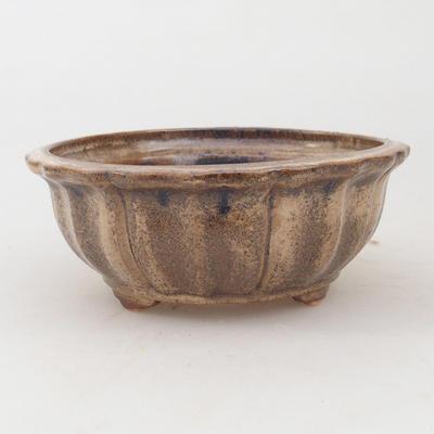 Ceramic bonsai bowl 11,5 x 11,5 x 4,5 cm, brown-beige color - 1