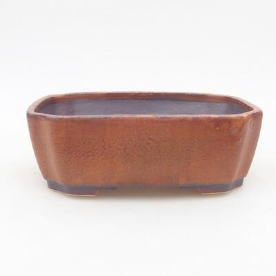Ceramic bonsai bowl 16.5 x 14 x 5.5 cm, brown color - 1