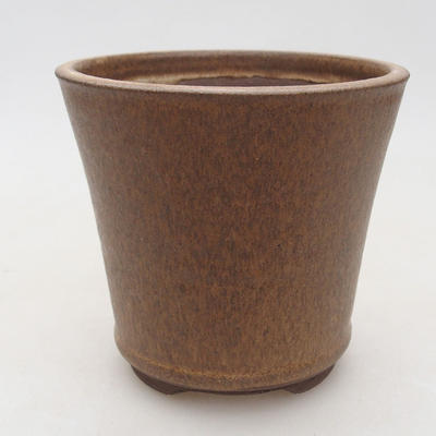 Ceramic bonsai bowl 10.5 x 10.5 x 9.5 cm, brown color - 1