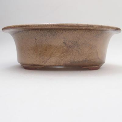 Ceramic bonsai bowl 19 x 15 x 6 cm, color brown - 1