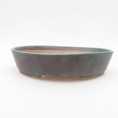 Ceramic bonsai bowl 22.5 x 20 x 5 cm, color green - 1