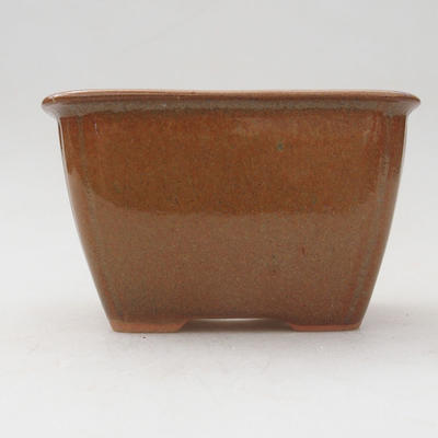 Ceramic bonsai bowl 8.5 x 8.5 x 5 cm, brown color - 1