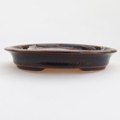 Ceramic bonsai bowl 12 x 10 x 2.5 cm, brown color - 1