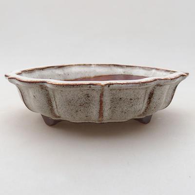 Ceramic bonsai bowl 17 x 17 x 4.5 cm, white color - 1