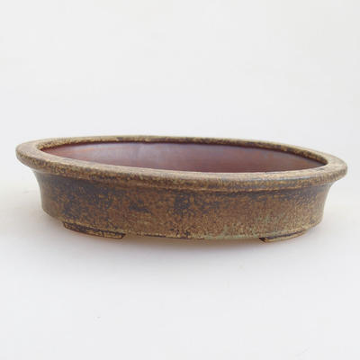 Ceramic bonsai bowl 12 x 10 x 2.5 cm, brown color - 1