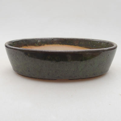 Ceramic bonsai bowl 16 x 11.5 x 4 cm, color green - 1