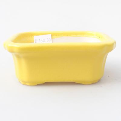 Ceramic bonsai bowl 10.5 x 8.5 x 4 cm, yellow color - 1
