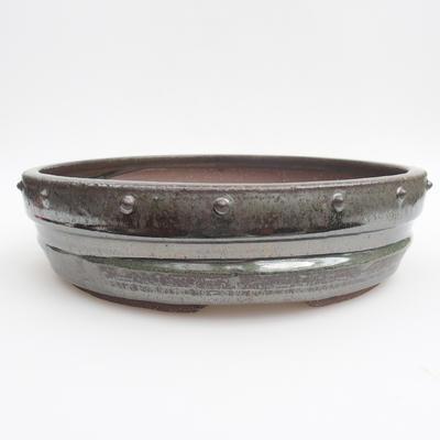 Ceramic bonsai bowl - 25,5 x 25,5 x 6,5 cm, color green - 1