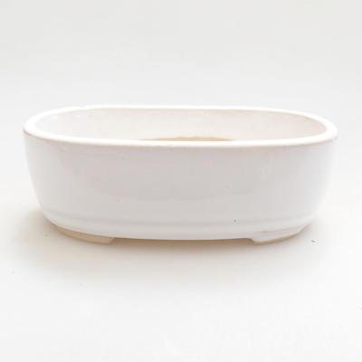 Ceramic bonsai bowl 12.5 x 8.5 x 3.5 cm, white color - 1