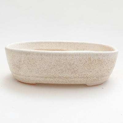 Ceramic bonsai bowl 12.5 x 8.5 x 3.5 cm, beige color - 1
