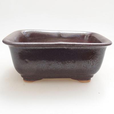 Ceramic bonsai bowl 13 x 10 x 5.5 cm, brown color - 1