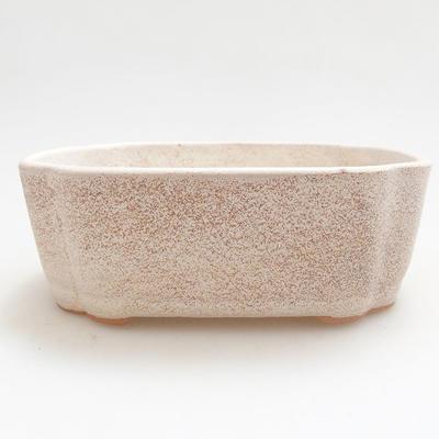 Ceramic bonsai bowl 12 x 9.5 x 4 cm, beige color - 1