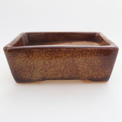 Ceramic bonsai bowl 9.5 x 7 x 3 cm, brown color - 1