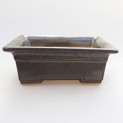 Ceramic bonsai bowl 11 x 8.5 x 4 cm, color green - 1