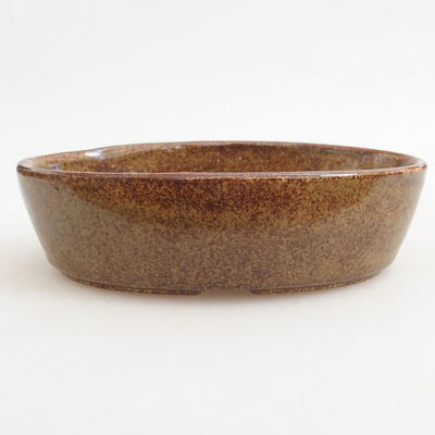 Ceramic bonsai bowl 14.5 x 9 x 3.5 cm, brown color - 1