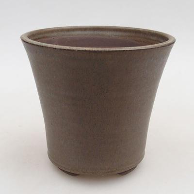 Ceramic bonsai bowl 12.5 x 12.5 x 11 cm, brown color - 1