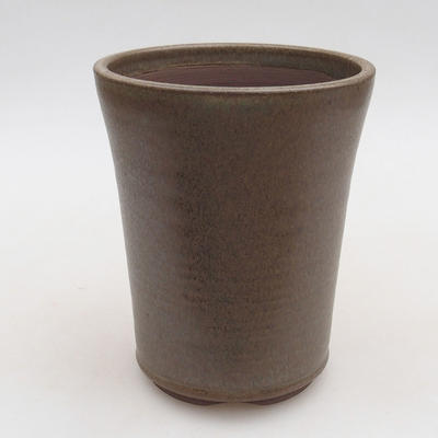 Ceramic bonsai bowl 10.5 x 10.5 x 13 cm, brown color - 1