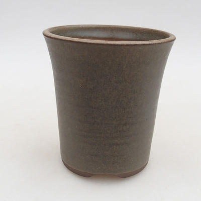 Ceramic bonsai bowl 9.5 x 9.5 x 10.5 cm, color brown-green - 1