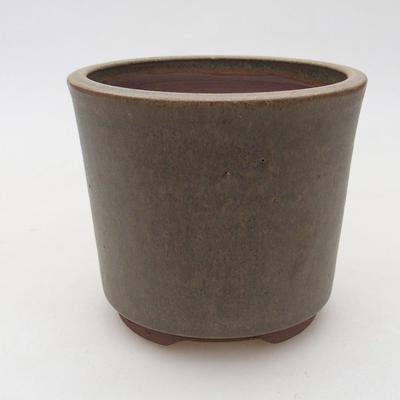 Ceramic bonsai bowl 10.5 x 10.5 x 9 cm, brown-green color - 1