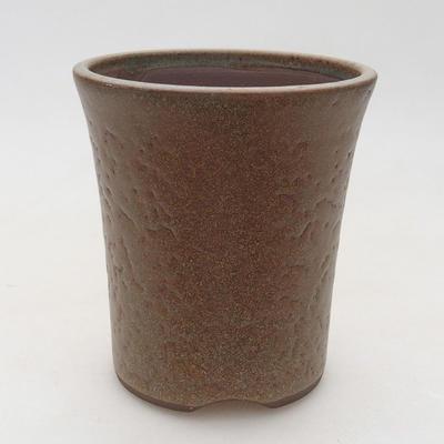 Ceramic bonsai bowl 9.5 x 9.5 x 10.5 cm, brown color - 1