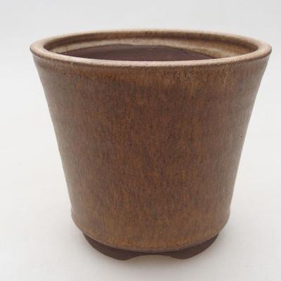 Ceramic bonsai bowl 10.5 x 10.5 x 9.5 cm, beige color - 1