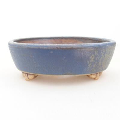 Ceramic bonsai bowl 12 x 9.5 x 3.5 cm, color blue - 1