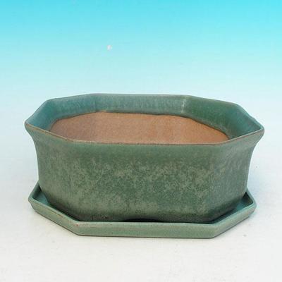 Bonsai bowl + tray H 13 - bowl11,5 x 11,5 x 4,5 cm, tray 11,5 x 11,5 x 1 cm - 1