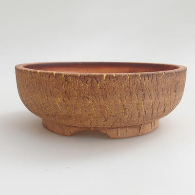 Ceramic bonsai bowl 16 x 16 x 5,5 cm, brown-yellow color - 1