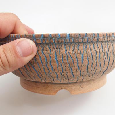 Ceramic bonsai bowl 17 x 17 x 6 cm, brown-blue color - 1