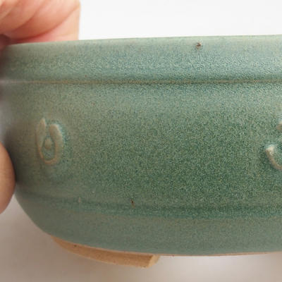 Ceramic bonsai bowl 12 x 12 x 4 cm, color green - 1