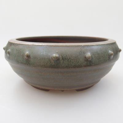 Ceramic bonsai bowl - 14 x 14 x 6 cm, color green - 1