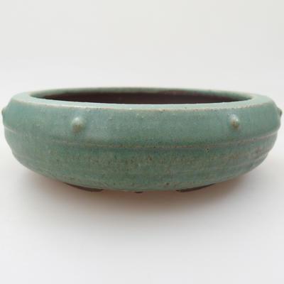 Ceramic bonsai bowl - 14,5 x 14,5 x 4,5 cm, color green - 1