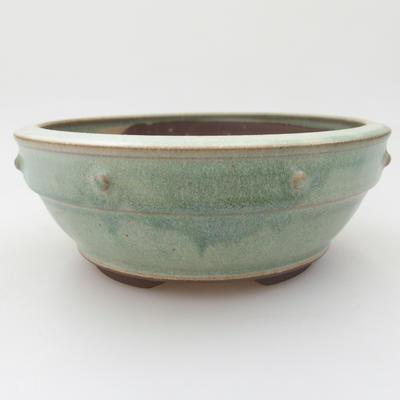 Ceramic bonsai bowl - 16 x 16 x 6 cm, color green - 1