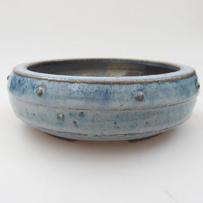 Ceramic bonsai bowl - 16 x 16 x 5 cm, color blue - 1