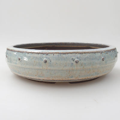 Ceramic bonsai bowl - 24 x 24 x 6,5 cm, color blue - 1