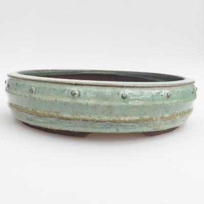 Ceramic bonsai bowl - 24 x 24 x 6 cm, color green - 1