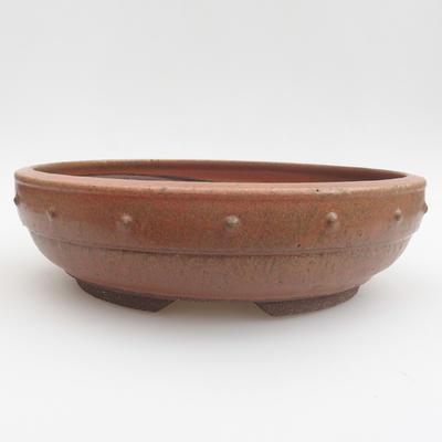 Ceramic bonsai bowl - 24 x 24 x 6,5 cm, red color - 1