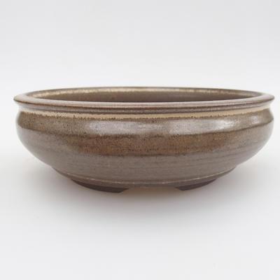 Ceramic bonsai bowl - 15,5 x 15,5 x 5 cm, brown color - 1