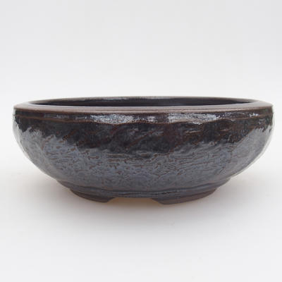 Ceramic bonsai bowl - 15,5 x 15,5 x 5 cm, blue-black color - 1