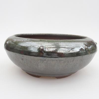 Ceramic bonsai bowl - 16 x 16 x 7 cm, color green - 1