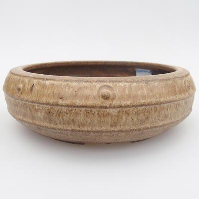 Ceramic bonsai bowl - 17 x 17 x 5,5 cm, brown-beige color - 1