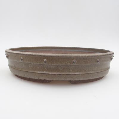 Ceramic bonsai bowl - 24 x 24 x 5,5 cm, gray color - 1