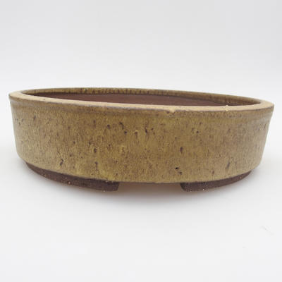 Ceramic bonsai bowl - 22 x 22 x 6 cm, brown-yellow color - 1
